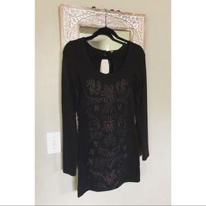 Free People Metallic Embroidered Fitted Dress